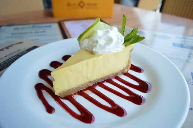 key lime pie dessert at a restaurant