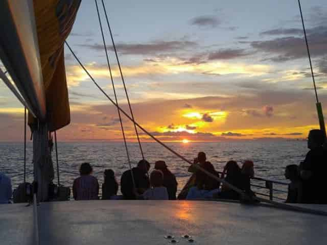 group watching sunset on dolphin cruise