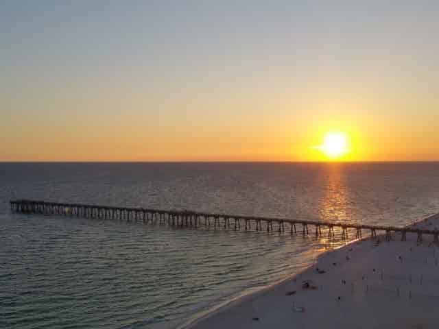 sunset over panama city beach florida
