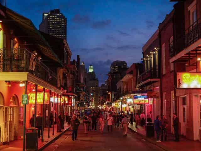bourbon street at night