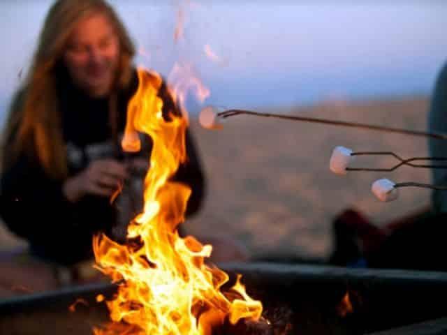 destin beach bonfire during the winter