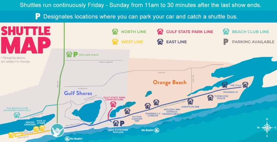 the Hangout Fest 2020 Shuttle Map
