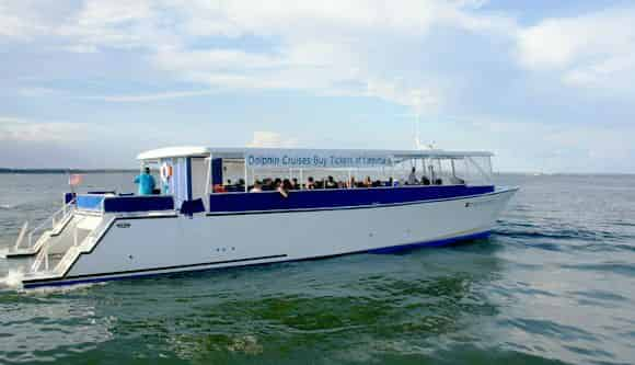 tourists aboard a pensacola beach dolphin sightseeing cruise