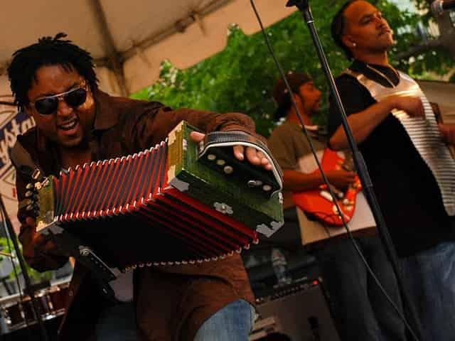 zydeco musicians at Louisiana swamp stomp festival