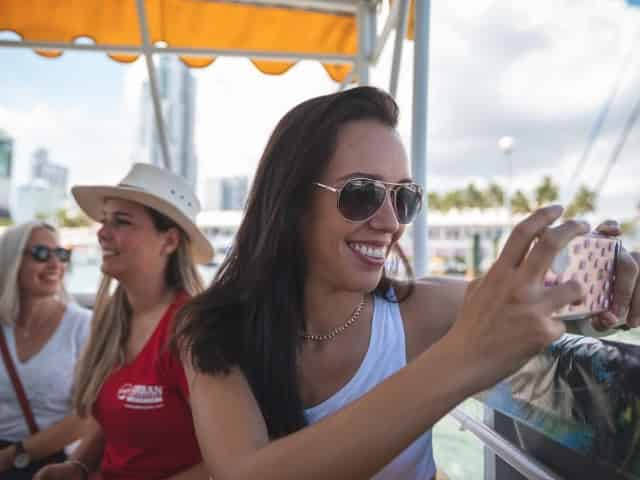 travelers on a miami boat tour