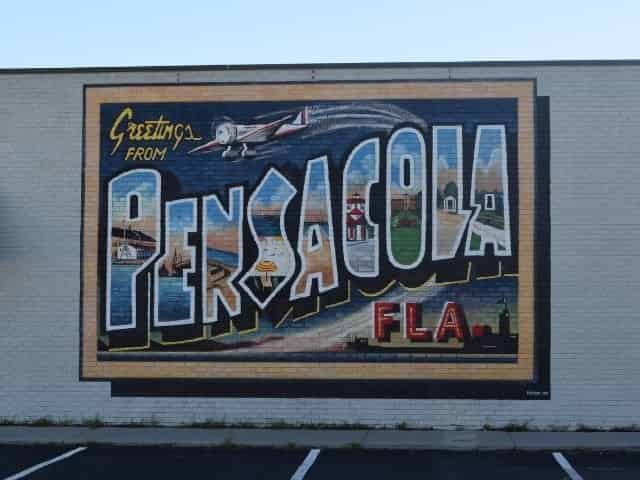 Pensacola post card mural