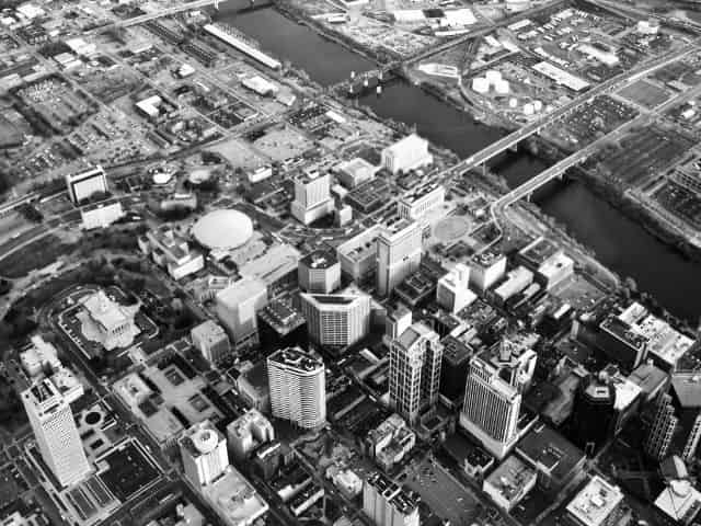 aerial view of Nashville
