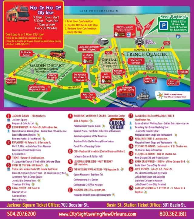 new orleans bus tour route map