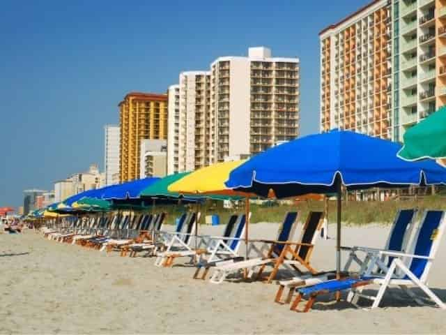 beach chairs and umbrellas in Myrtle Beach, SC