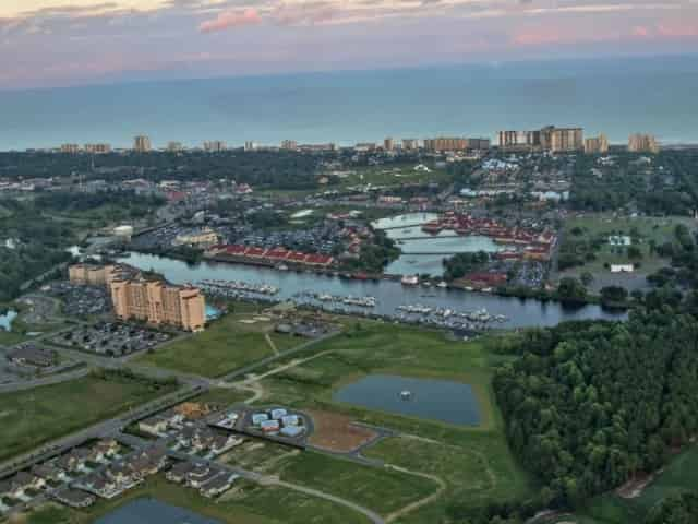 aerial view of Barefoot Landing in Myrtle Beach, SC