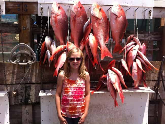 little girl catches red snapper on swoop charter destin