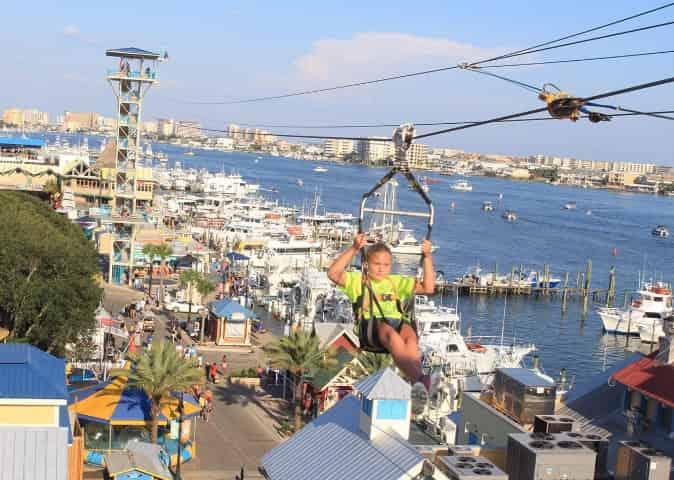 zipline in the destin harbor