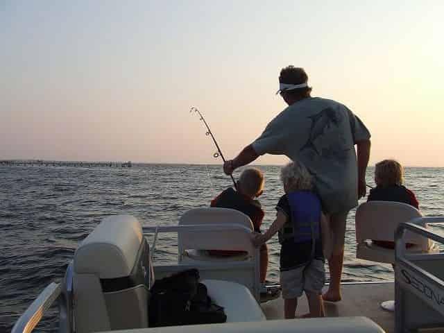 fishing from a destin pontoon rental