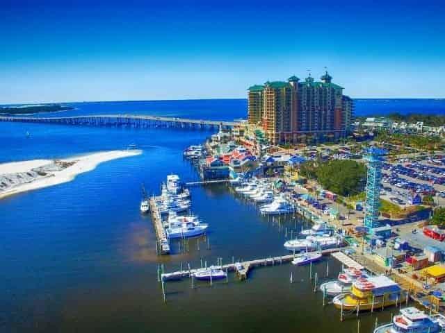 aerial view of downtown Destin Florida