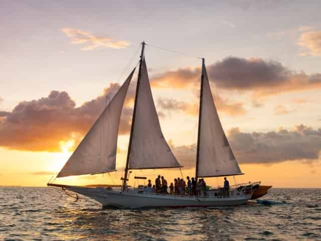 sailing in key west at sunset