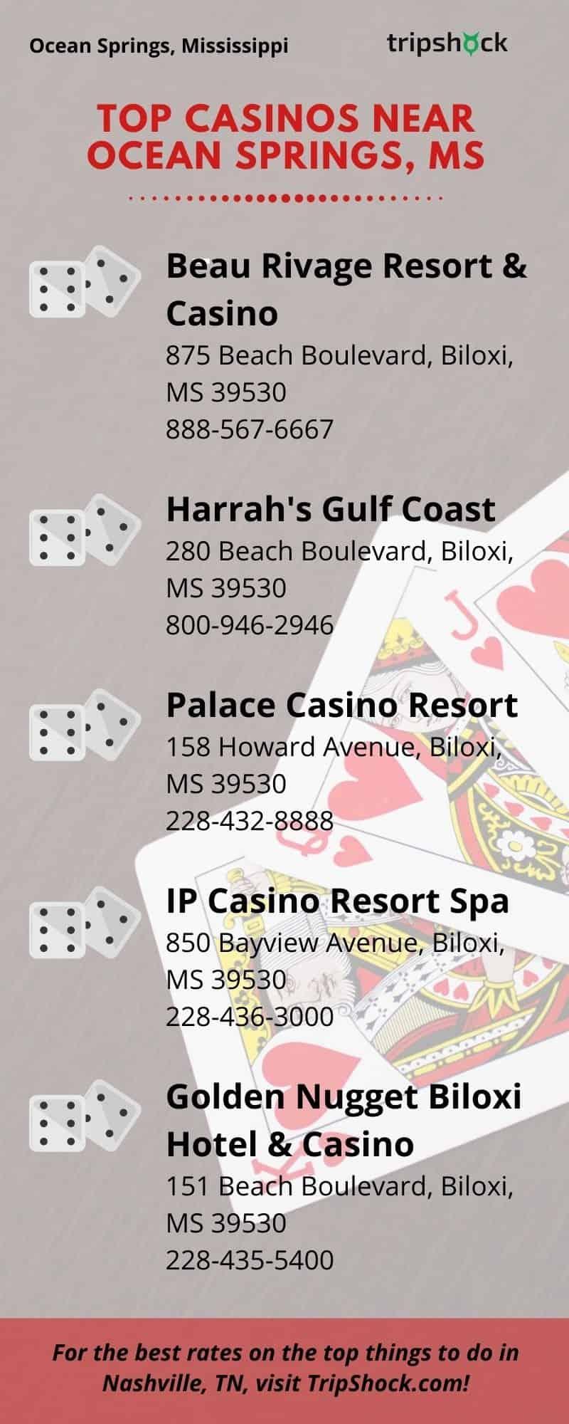Top Casinos Near Ocean Springs, MS