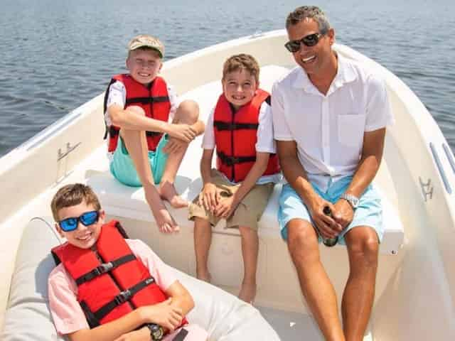 family boating together in key west florida