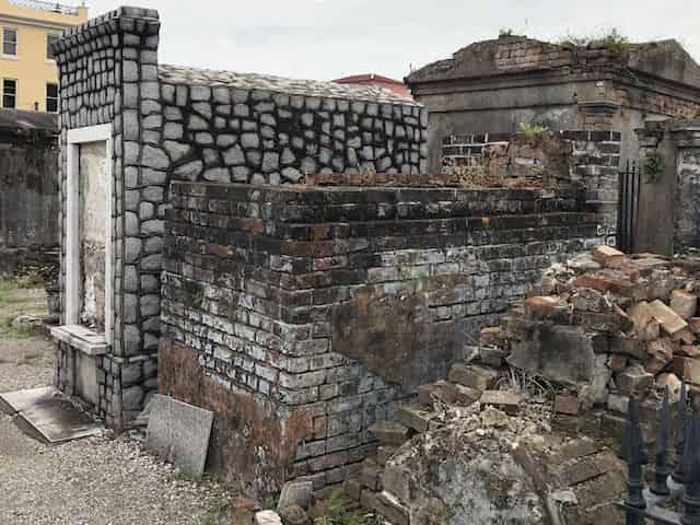 broken tombs seen on a nola cemetery tour