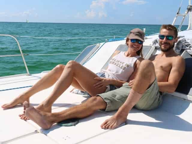 couple on a private sailing charter in destin