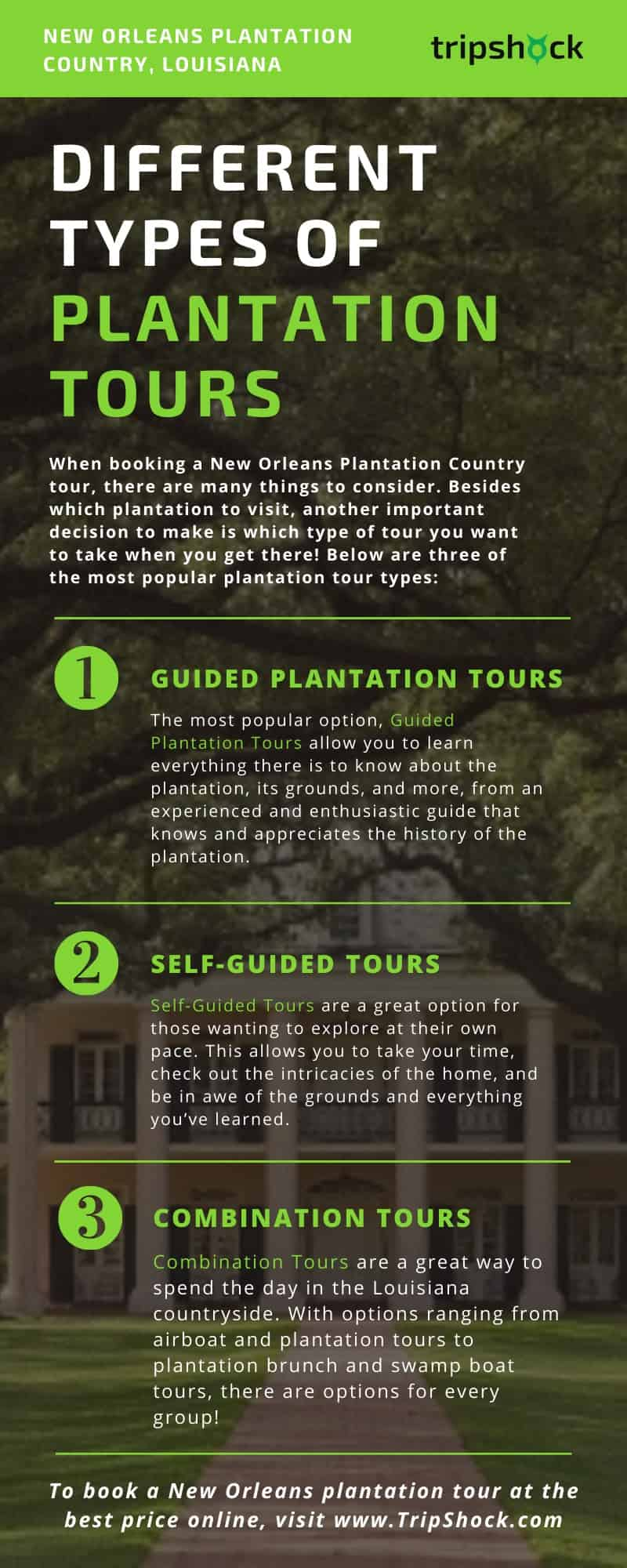 different types of new orleans plantation tours