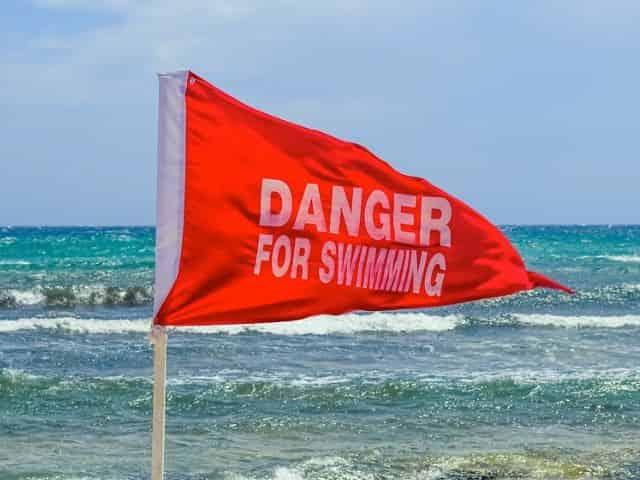 no swimming at the beach