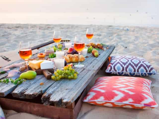 picnic on the beach in gulf shores for couples