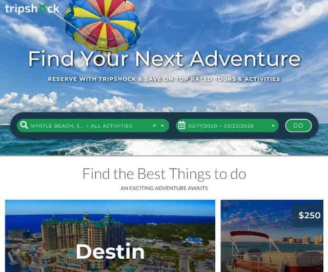 tripshock.com homepage