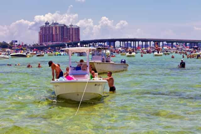 boats anchored at crab island in destin florida