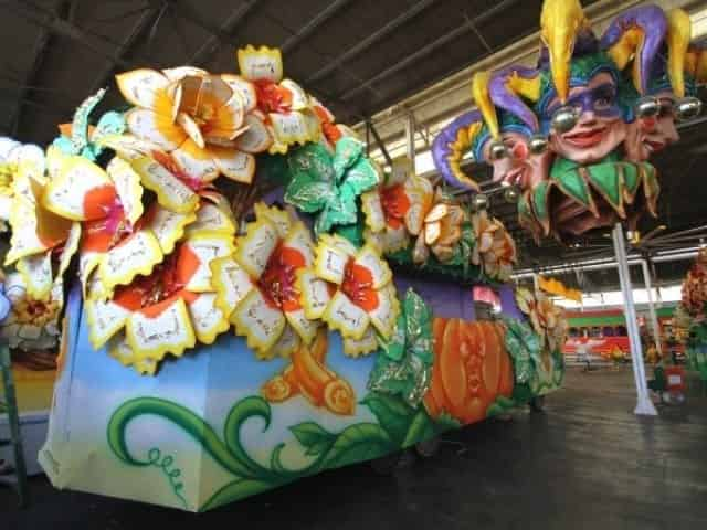 colorful float at Mardi Gras World in New Orleans