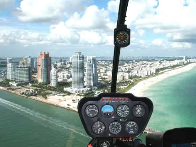 view of miami from a helicopter