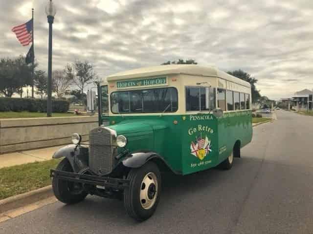 city tour by bus on a rainy day near Perdido Key