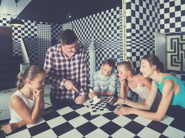 Family solving a Sarasota escape room