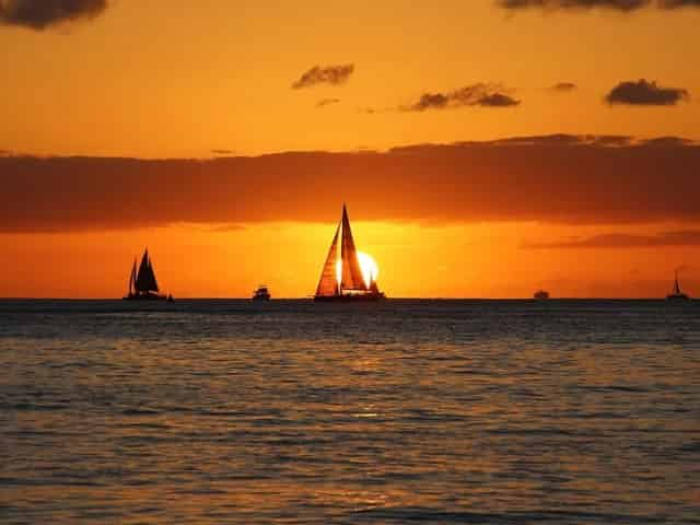sailboats at sunset in key west florida