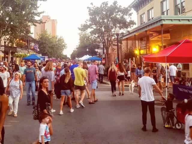 Pensacola streets during Gallery Night