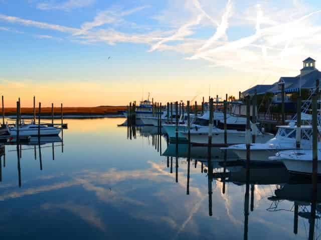 serene sunset at murrells inlet boardwalk