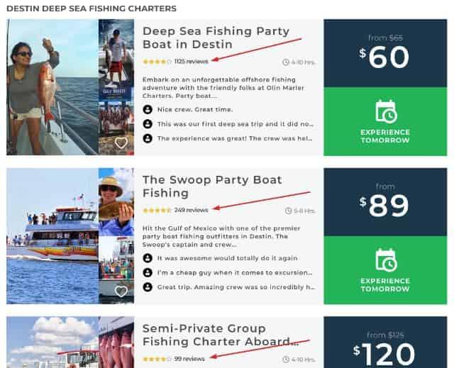 deep sea fishing star rating