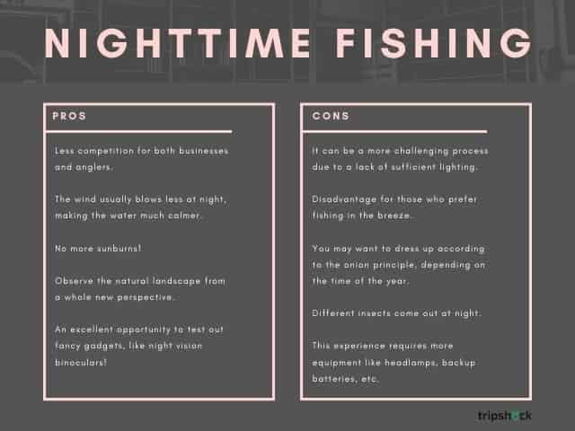 nighttime fishing pros and cons