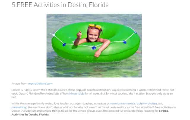 free activities in destin blog