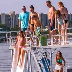 Full Day Pontoon Boat Rental with Slide in Orange Beach